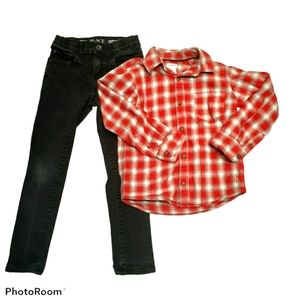 Children place Skinny Black Jean's & Plaid Shirt.